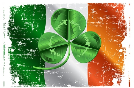 three leafed: Three leafed clover in the center of the screen Irish Flag