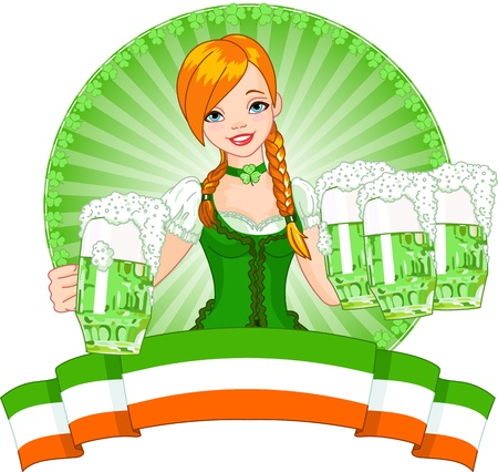 St  Patrick's Day beautiful waitress Vector