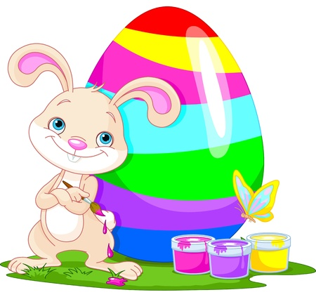 Illustration of an Easter Bunny painting an egg