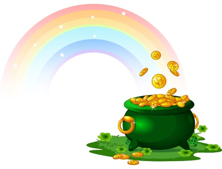 the end of a rainbow: Olla llena de monedas de oro al final del arco iris