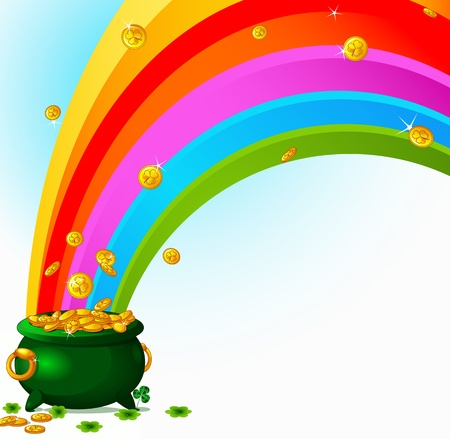 gold treasure: Pot  full of golden coins and the rainbow Illustration