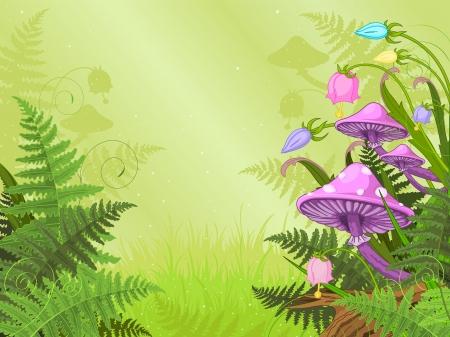 Paisaje mágico con las setas y flores