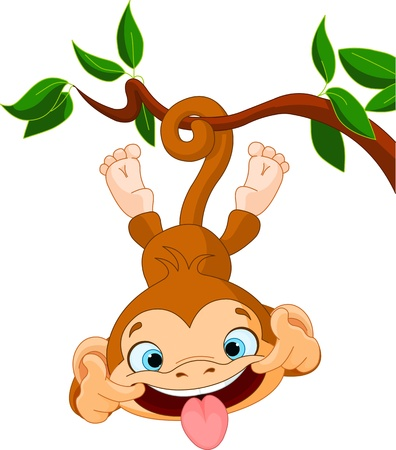 cute cartoon monkey: Cute baby monkey hamming on a tree  Perfect for April Fools