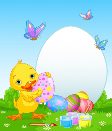 Easter Duckling painting Easter Eggs  Perfect for your Easter Greeting Vector
