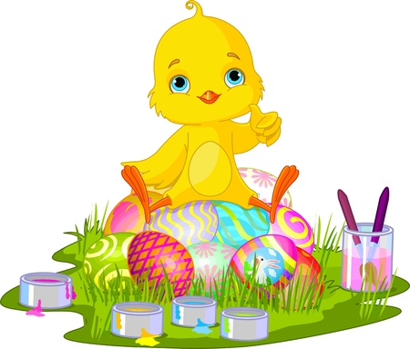 Cute newborn chick sitting on Easter eggs  Illustration