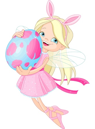 artificial teeth: Cute little Fairy flying with Easter Egg Illustration