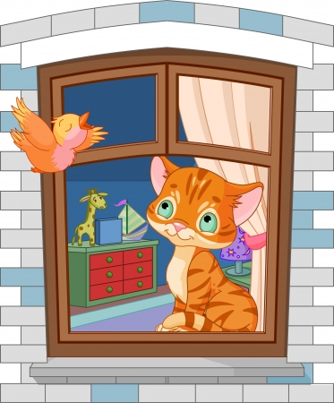 cartoon window: Cute kitten sitting on the window and looking at the bird fly