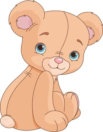 Cote Zitten Teddybeer tegen een witte achtergrond Stock Illustratie