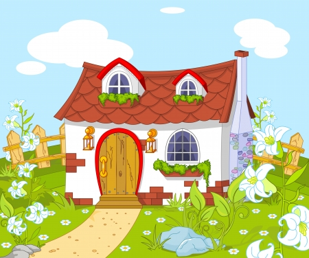 Cartoon landscape with Cute little house