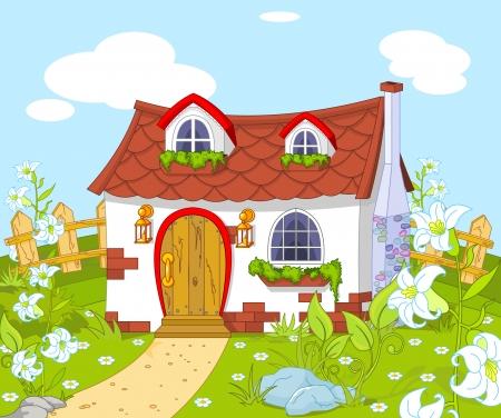 paysage dessin anim�: Paysage de dessin anim� avec petite maison mignonne