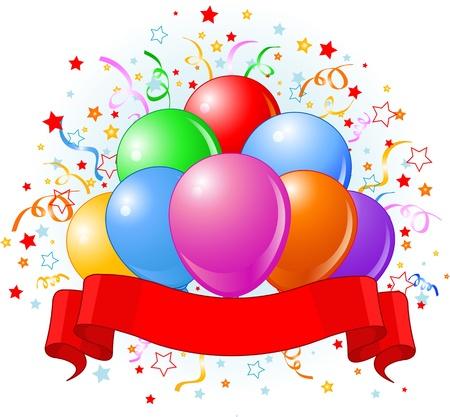 Balões do aniversário, confetes copiar fita espaço