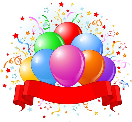 Verjaardag ballonnen, confetti kopie ruimte lint