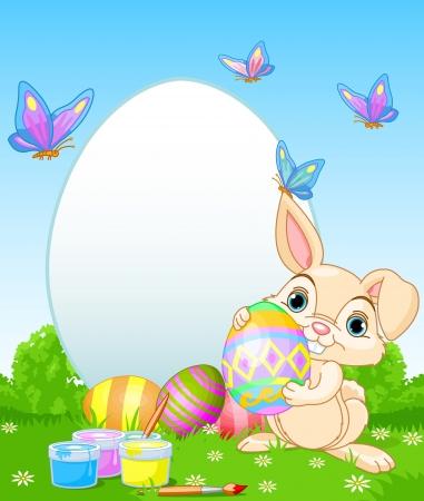 pascuas navide�as: Conejito de pascua Pascua de la pintura Perfecto para el saludo Huevos de Pascua Vectores