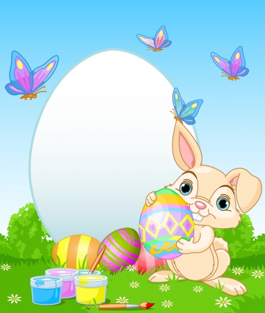 easter sign: Easter Bunny painting Easter Eggs  Perfect for your Easter Greeting