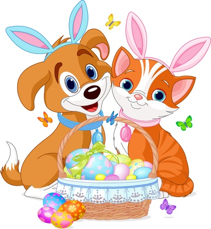 Cat and dog near pretty Easter basket full of eggs Illustration