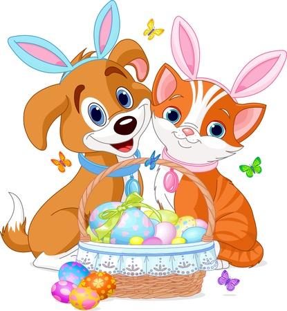 Gato y perro cerca bastante canasta de Pascua llena de huevos Vectores