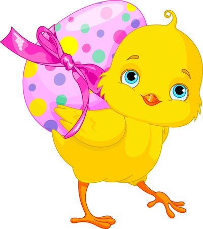 chick: Illustration of happy Chicken bunny carrying egg