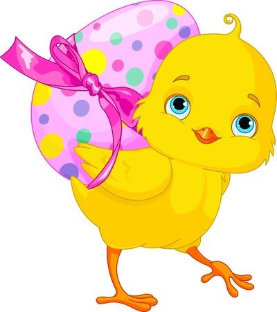 Ilustración del conejito de pollo feliz que lleva huevo
