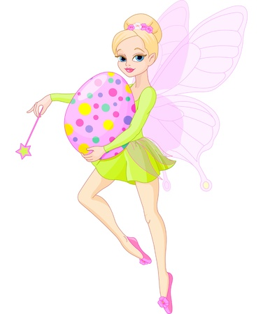 butterfly tail: Cute Fairy flying with Easter egg Illustration