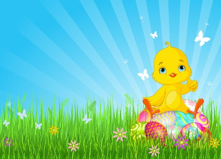 Cute Easter bunny Chick on eggs background
