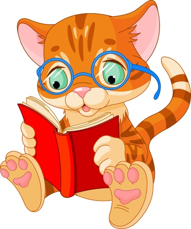 Cute Kitten with glasses reading  a book  Vector