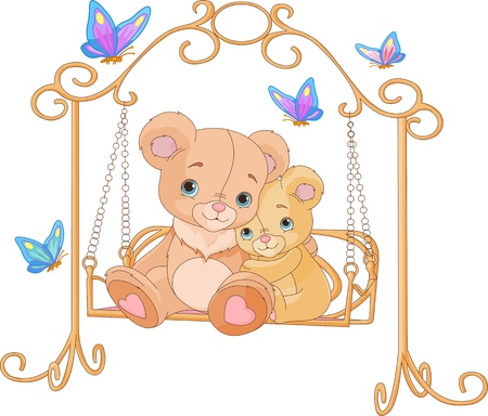 Cute pair of bears on a swing Stock Vector - 18567207
