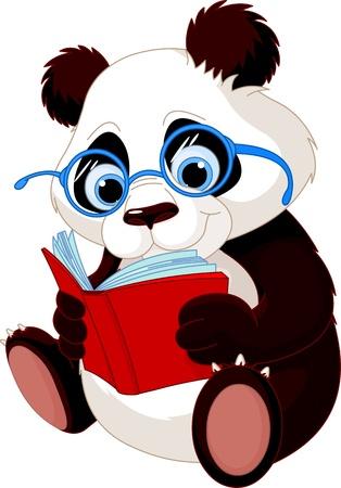 reading glass: Panda linda con las gafas de leer un libro