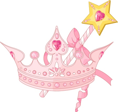 heart with crown: Beautiful crown and  magic wand  for true princess