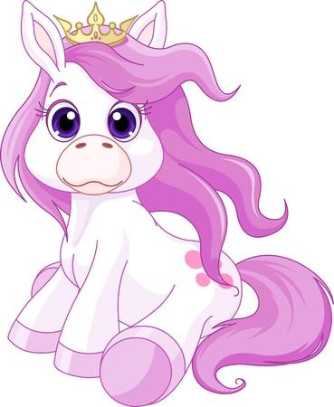 Illustrazione di cute cavallo principessa