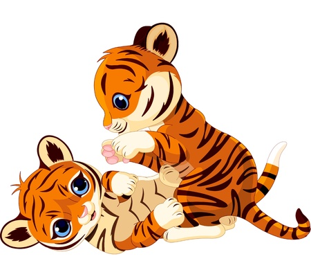 Two cute playful tiger cub