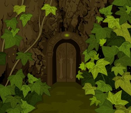 마법의 요정 성 게이트와 나무 줄기