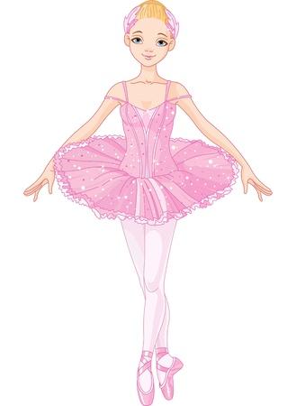 Illustratie van poseren mooie roze ballerina