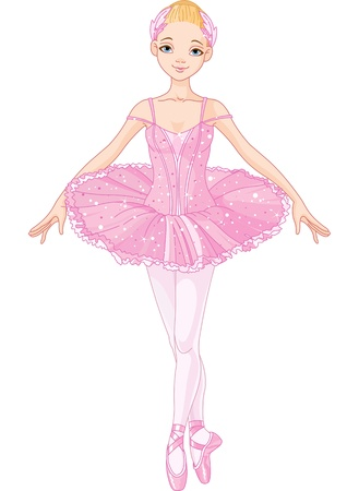 dream lake: Illustration of posing beautiful pink ballerina