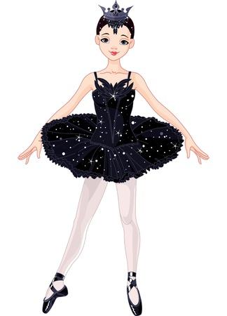 cisnes: Ilustración de la hermosa bailarina posando negro