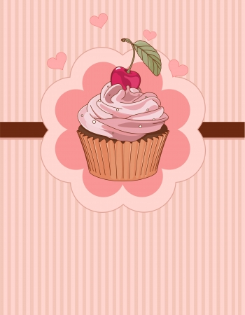 Beautiful cupcake with cherry on the top,  place card Vector