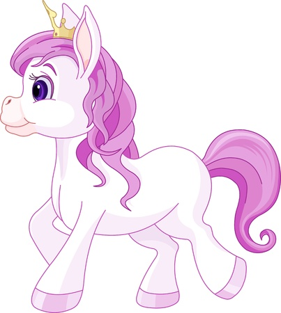 ponies:  Illustration of walking cute horse princess