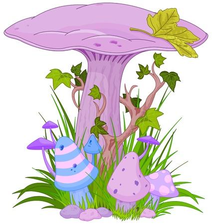 champignon magique: Champignon magique dans une herbe