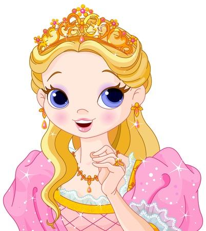 corona reina: Ilustraci�n de la hermosa princesa de cuento de hadas Vectores