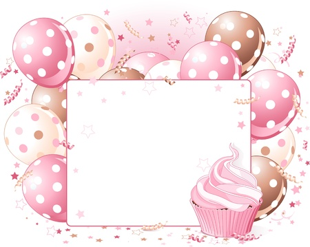 birthday party:   Illustration of blank place card with balloons and cupcake