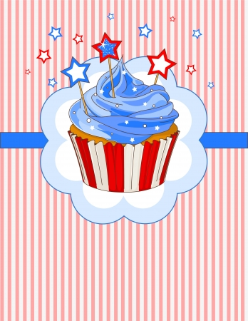 Patriotic cupcake with stars on the top place card Vector