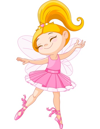 ballet tutu: Illustration of a happy little fairy ballerina