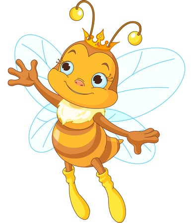 Illustration of a queen cute bee presenting Stock Vector - 19161586