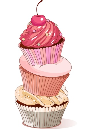 cupcake illustration: Pyramid of cupcakes elegance design