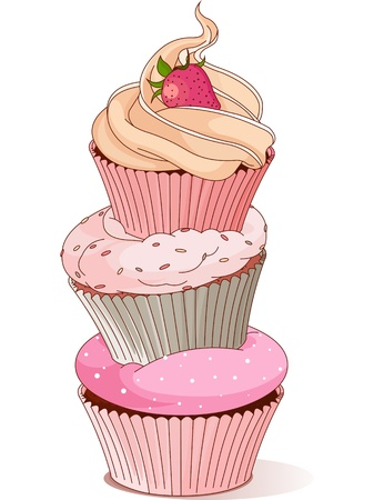 birthday: Pyramid of cupcakes elegance design