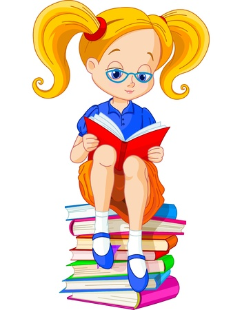 Girl sitting on a pile of books and reading