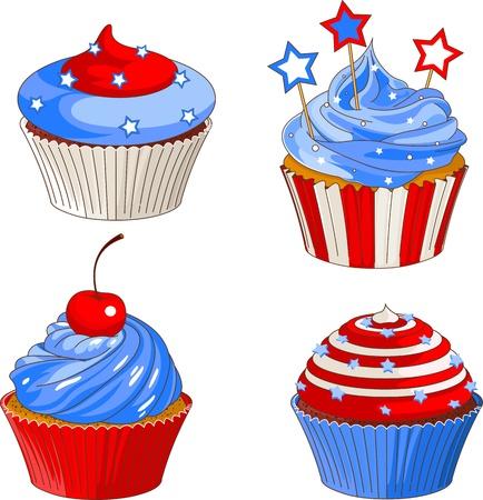 cupcake illustration: American flag designed patriotic cupcakes
