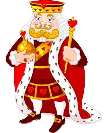medieval king: Cartoon heart king holding a golden scepter