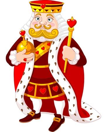 corona rey: Rey del corazón de dibujos animados con un cetro de oro