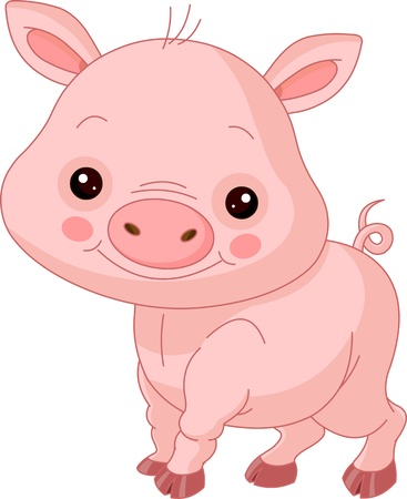 Fun zoo  Illustration of cute Pig Vector