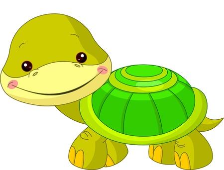 tortuga de caricatura: Diversi�n zool�gico Ilustraci�n de la tortuga linda